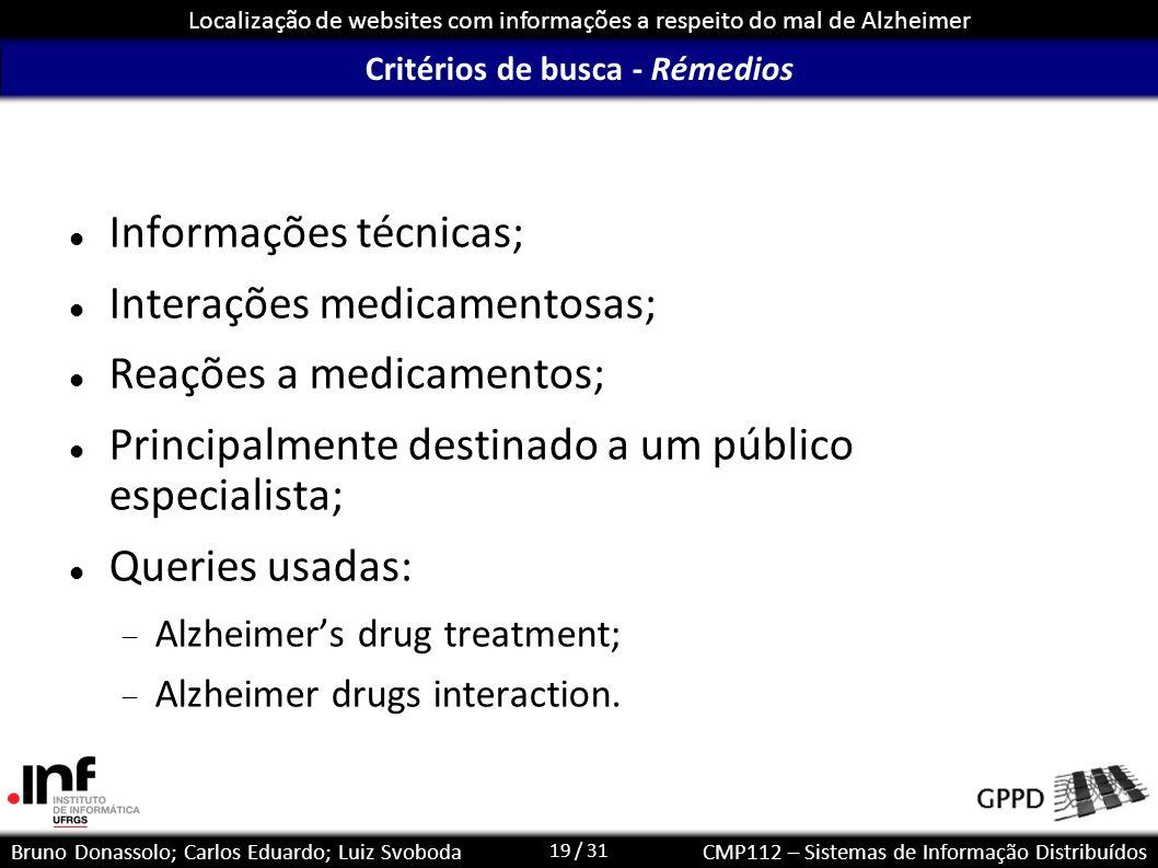 19 / 31 Localização de websites com informações a respeito do mal de Alzheimer Bruno Donassolo; Carlos Eduardo; Luiz SvobodaCMP112 – Sistemas de Infor