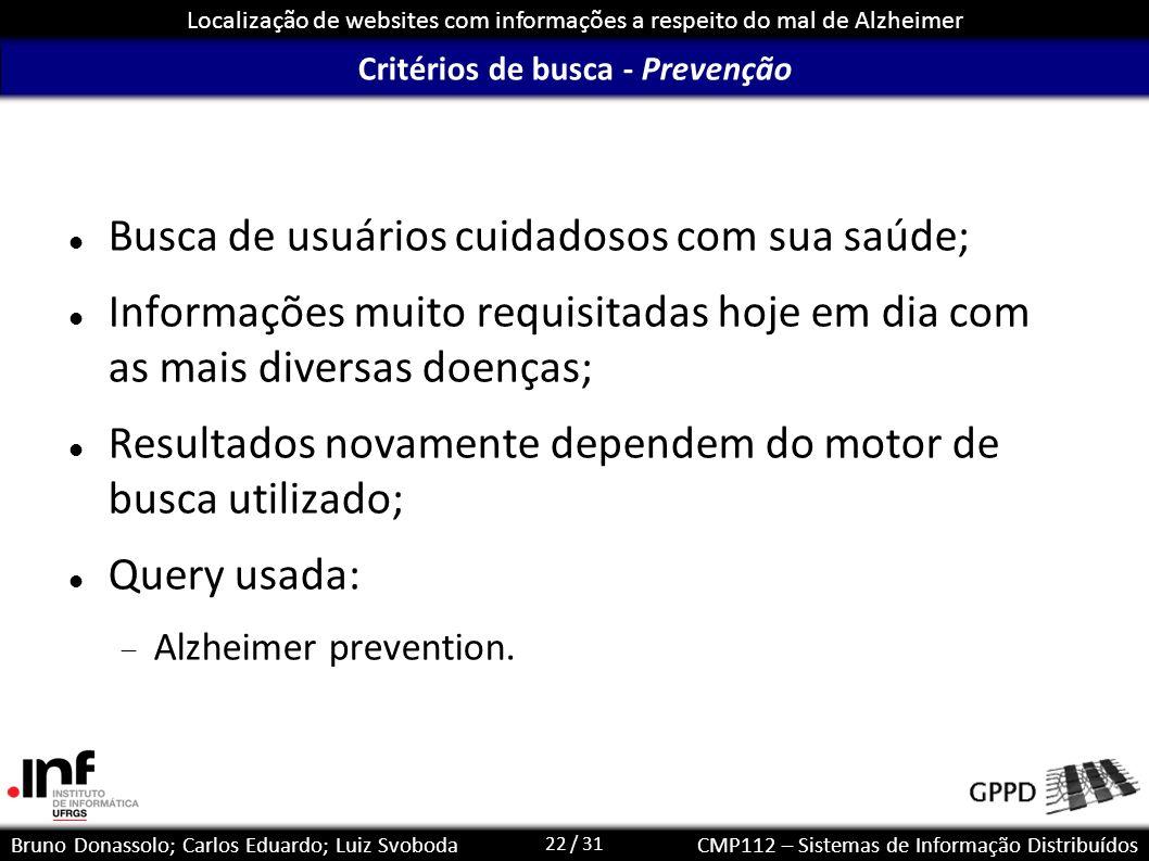 22 / 31 Localização de websites com informações a respeito do mal de Alzheimer Bruno Donassolo; Carlos Eduardo; Luiz SvobodaCMP112 – Sistemas de Infor