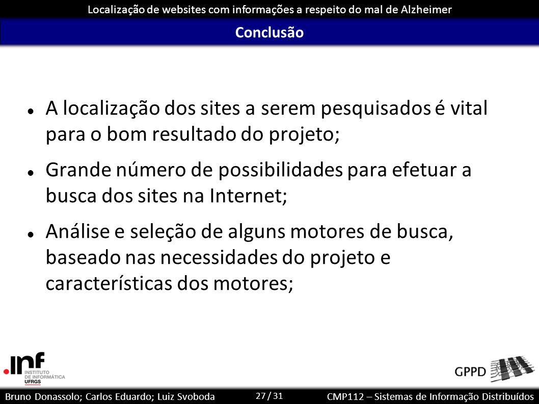 27 / 31 Localização de websites com informações a respeito do mal de Alzheimer Bruno Donassolo; Carlos Eduardo; Luiz SvobodaCMP112 – Sistemas de Infor
