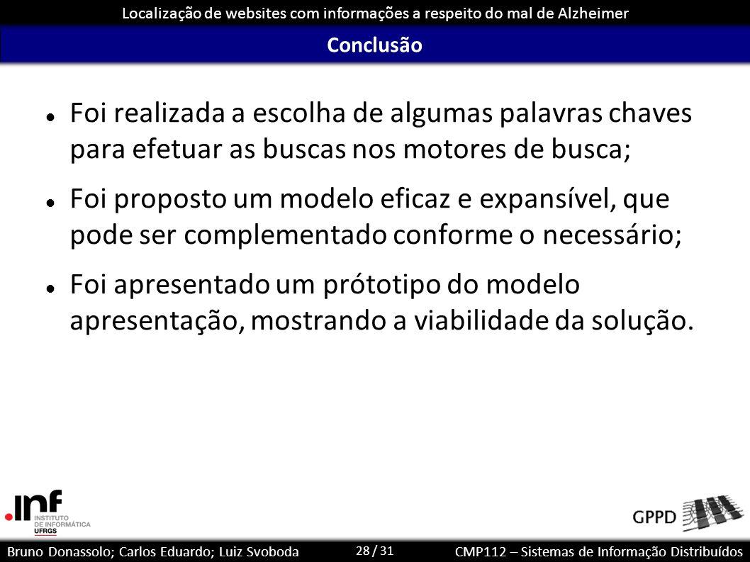 28 / 31 Localização de websites com informações a respeito do mal de Alzheimer Bruno Donassolo; Carlos Eduardo; Luiz SvobodaCMP112 – Sistemas de Infor