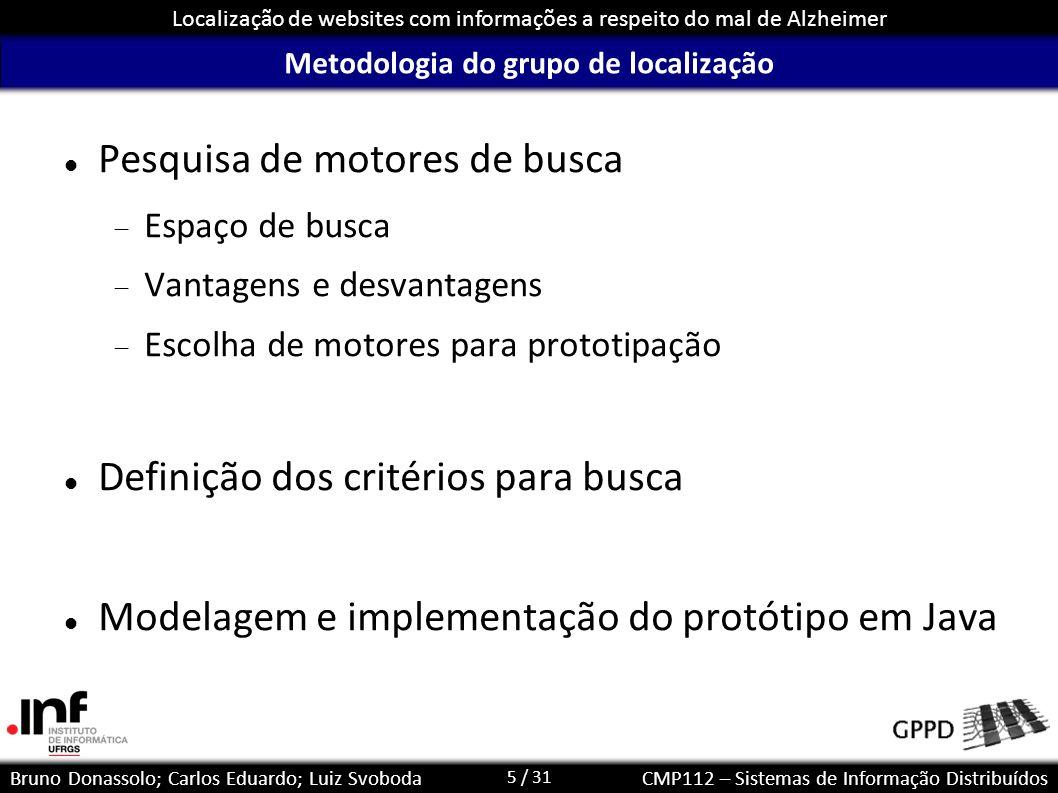 5 / 31 Localização de websites com informações a respeito do mal de Alzheimer Bruno Donassolo; Carlos Eduardo; Luiz SvobodaCMP112 – Sistemas de Inform