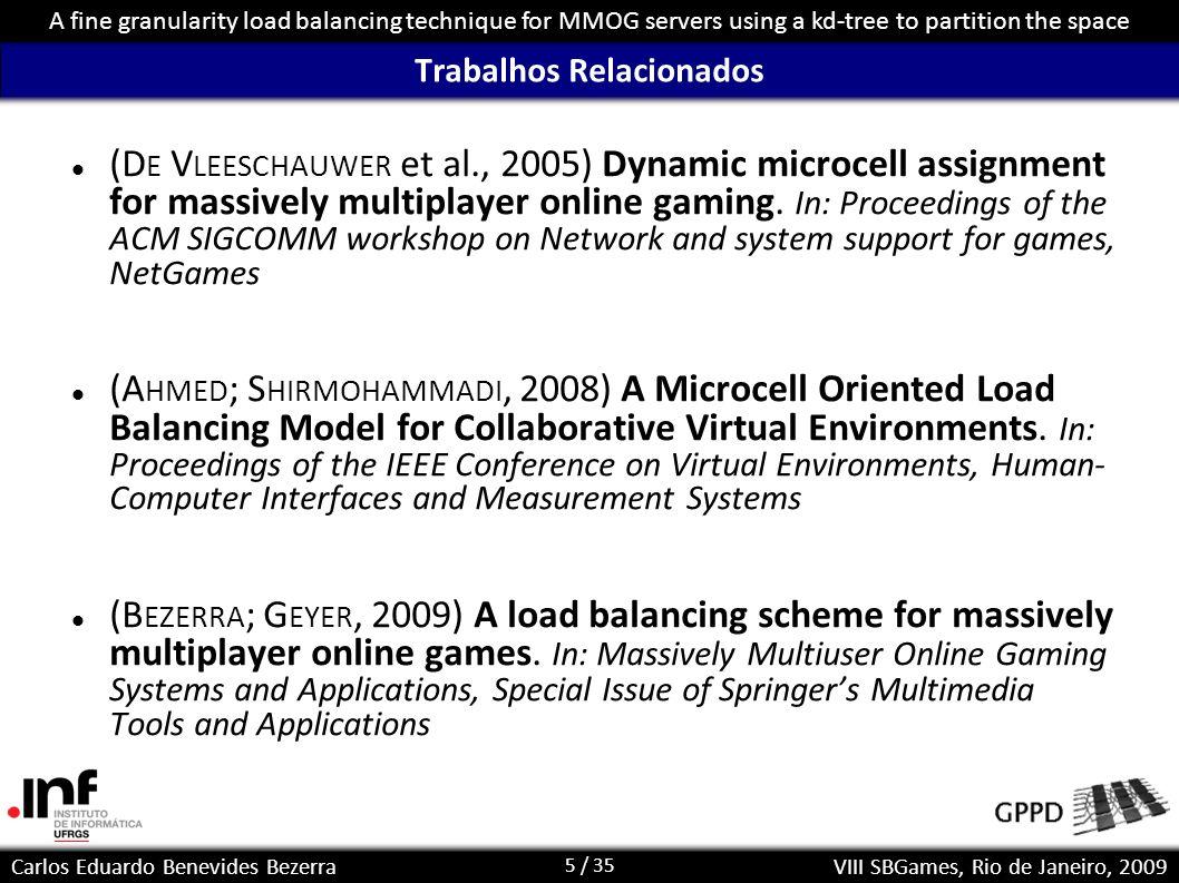 26 / 35 Carlos Eduardo Benevides Bezerra A fine granularity load balancing technique for MMOG servers using a kd-tree to partition the space VIII SBGames, Rio de Janeiro, 2009 Distribuição – sem hotspots