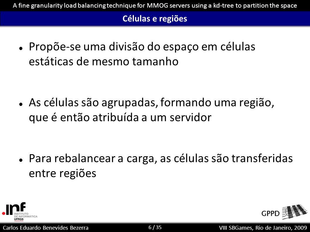 17 / 35 Carlos Eduardo Benevides Bezerra A fine granularity load balancing technique for MMOG servers using a kd-tree to partition the space VIII SBGames, Rio de Janeiro, 2009 Exemplo (2/5)