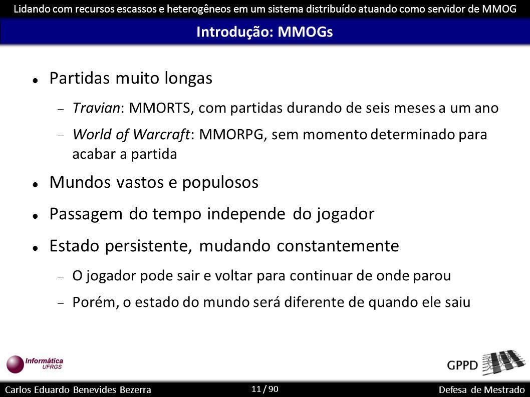11 / 90 Lidando com recursos escassos e heterogêneos em um sistema distribuído atuando como servidor de MMOG Carlos Eduardo Benevides BezerraDefesa de