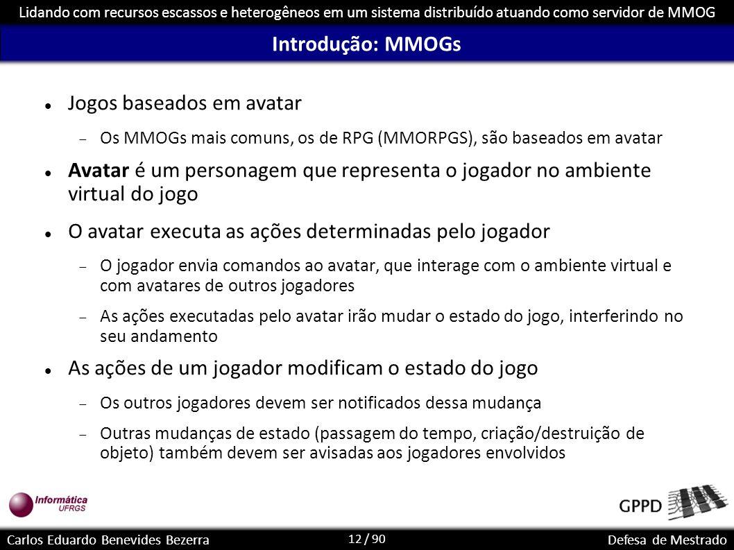 12 / 90 Lidando com recursos escassos e heterogêneos em um sistema distribuído atuando como servidor de MMOG Carlos Eduardo Benevides BezerraDefesa de