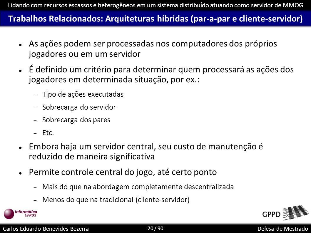 20 / 90 Lidando com recursos escassos e heterogêneos em um sistema distribuído atuando como servidor de MMOG Carlos Eduardo Benevides BezerraDefesa de