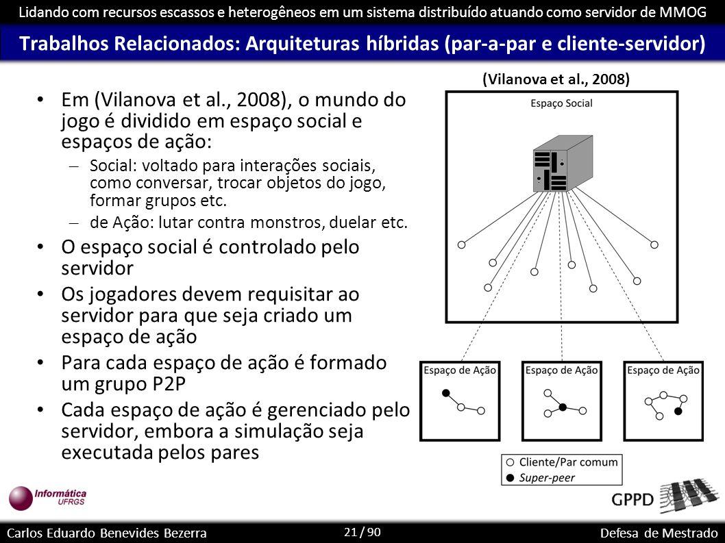 21 / 90 Lidando com recursos escassos e heterogêneos em um sistema distribuído atuando como servidor de MMOG Carlos Eduardo Benevides BezerraDefesa de