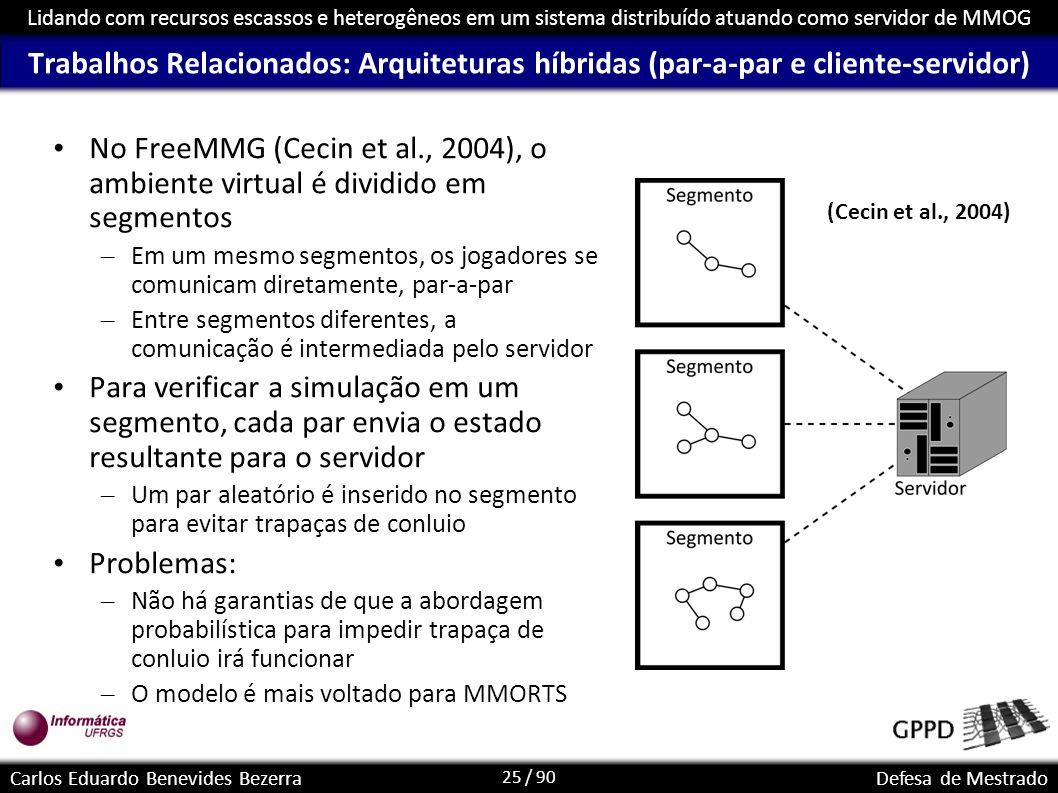 25 / 90 Lidando com recursos escassos e heterogêneos em um sistema distribuído atuando como servidor de MMOG Carlos Eduardo Benevides BezerraDefesa de