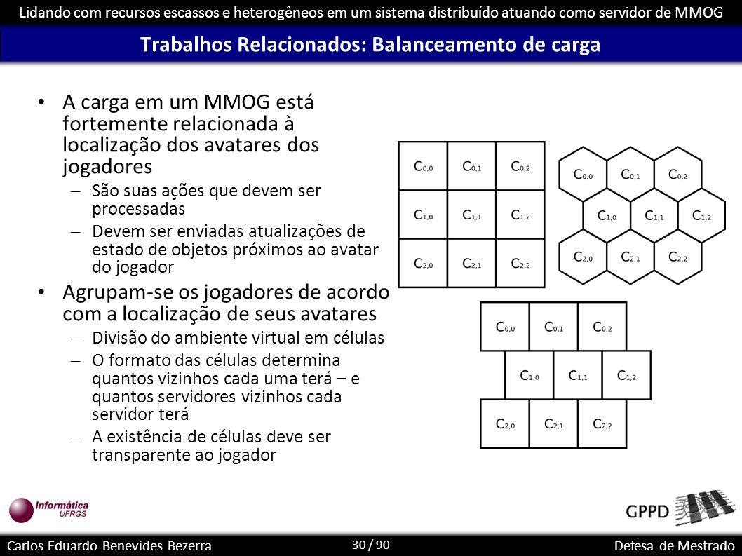 30 / 90 Lidando com recursos escassos e heterogêneos em um sistema distribuído atuando como servidor de MMOG Carlos Eduardo Benevides BezerraDefesa de