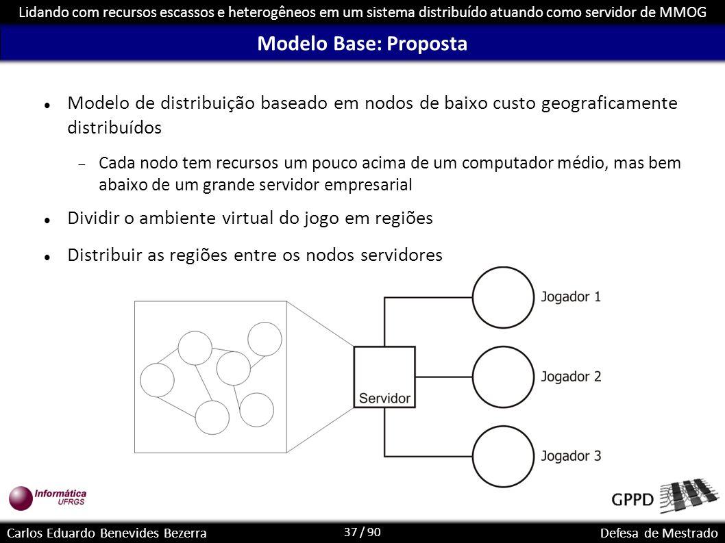 37 / 90 Lidando com recursos escassos e heterogêneos em um sistema distribuído atuando como servidor de MMOG Carlos Eduardo Benevides BezerraDefesa de