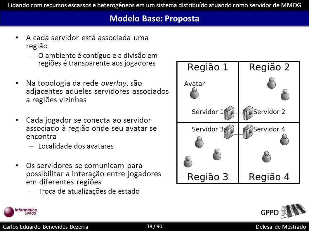 38 / 90 Lidando com recursos escassos e heterogêneos em um sistema distribuído atuando como servidor de MMOG Carlos Eduardo Benevides BezerraDefesa de