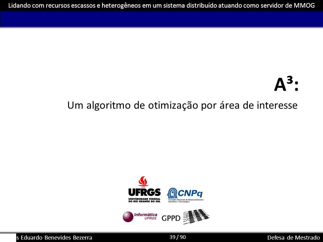 39 / 90 Lidando com recursos escassos e heterogêneos em um sistema distribuído atuando como servidor de MMOG Carlos Eduardo Benevides BezerraDefesa de
