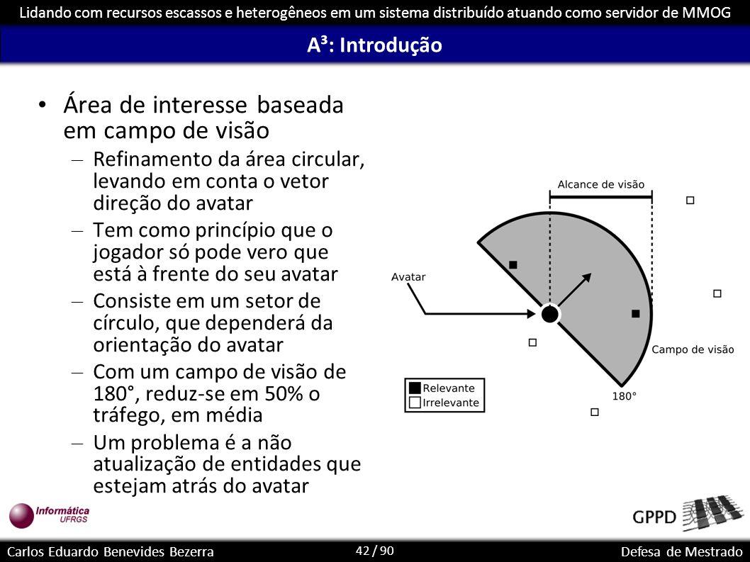 42 / 90 Lidando com recursos escassos e heterogêneos em um sistema distribuído atuando como servidor de MMOG Carlos Eduardo Benevides BezerraDefesa de