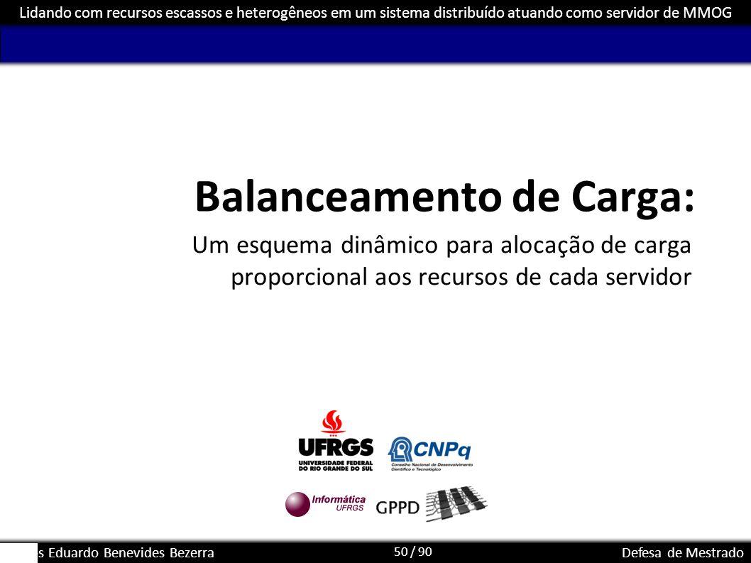 50 / 90 Lidando com recursos escassos e heterogêneos em um sistema distribuído atuando como servidor de MMOG Carlos Eduardo Benevides BezerraDefesa de
