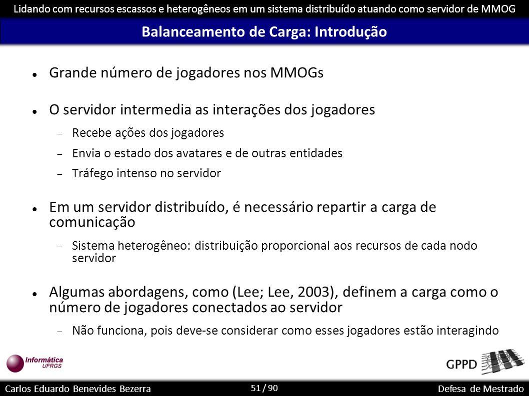 51 / 90 Lidando com recursos escassos e heterogêneos em um sistema distribuído atuando como servidor de MMOG Carlos Eduardo Benevides BezerraDefesa de