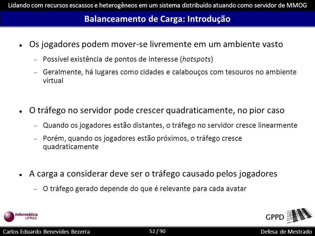 52 / 90 Lidando com recursos escassos e heterogêneos em um sistema distribuído atuando como servidor de MMOG Carlos Eduardo Benevides BezerraDefesa de