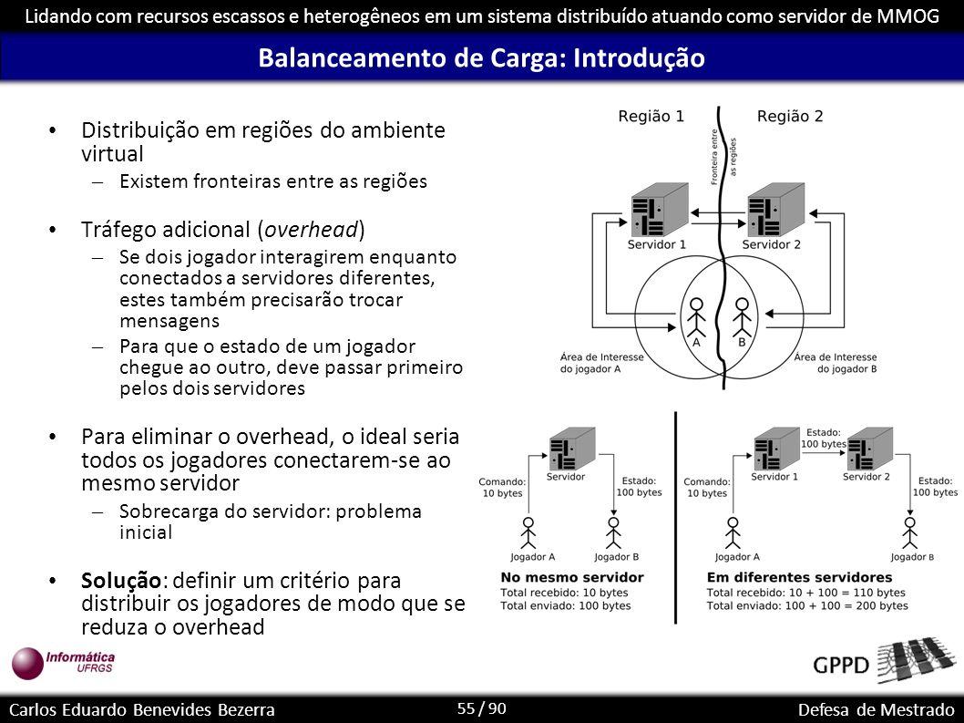 55 / 90 Lidando com recursos escassos e heterogêneos em um sistema distribuído atuando como servidor de MMOG Carlos Eduardo Benevides BezerraDefesa de