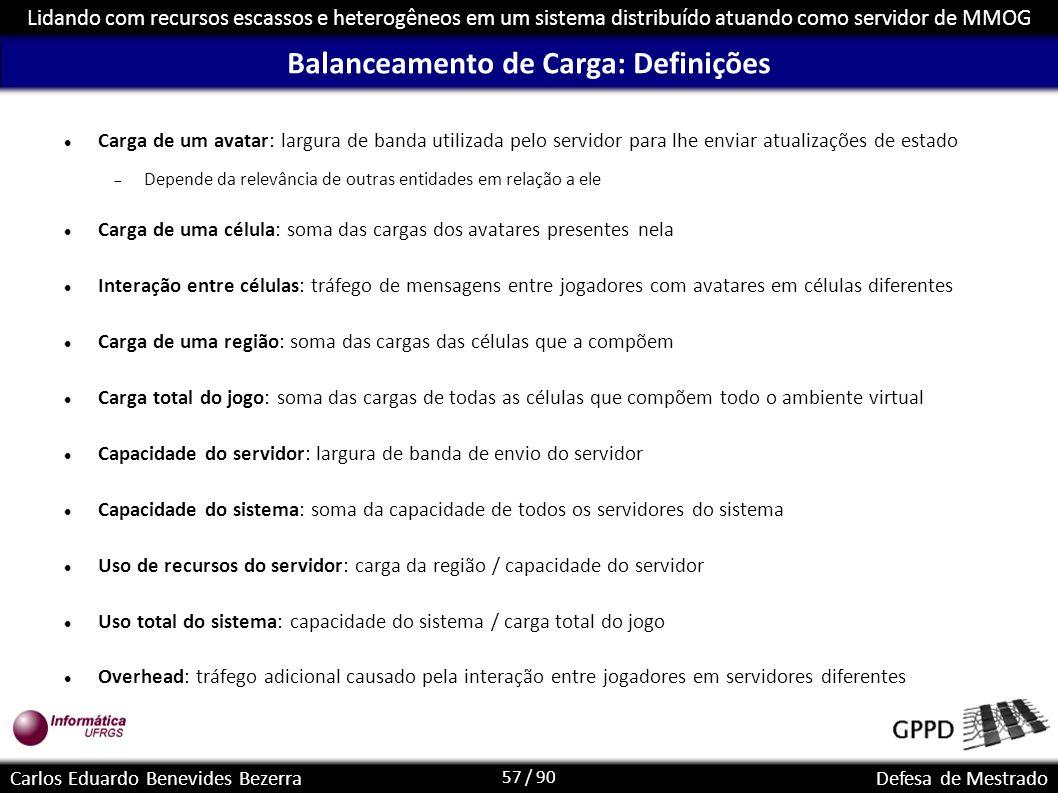 57 / 90 Lidando com recursos escassos e heterogêneos em um sistema distribuído atuando como servidor de MMOG Carlos Eduardo Benevides BezerraDefesa de