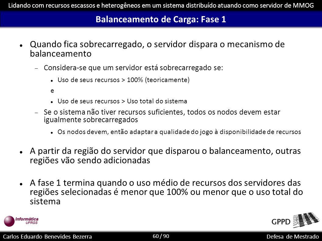 60 / 90 Lidando com recursos escassos e heterogêneos em um sistema distribuído atuando como servidor de MMOG Carlos Eduardo Benevides BezerraDefesa de