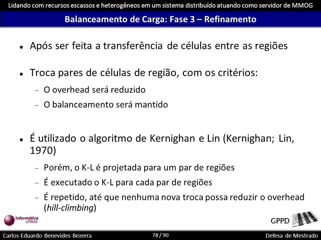 78 / 90 Lidando com recursos escassos e heterogêneos em um sistema distribuído atuando como servidor de MMOG Carlos Eduardo Benevides BezerraDefesa de