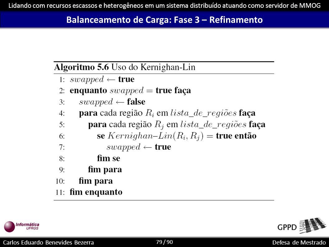 79 / 90 Lidando com recursos escassos e heterogêneos em um sistema distribuído atuando como servidor de MMOG Carlos Eduardo Benevides BezerraDefesa de