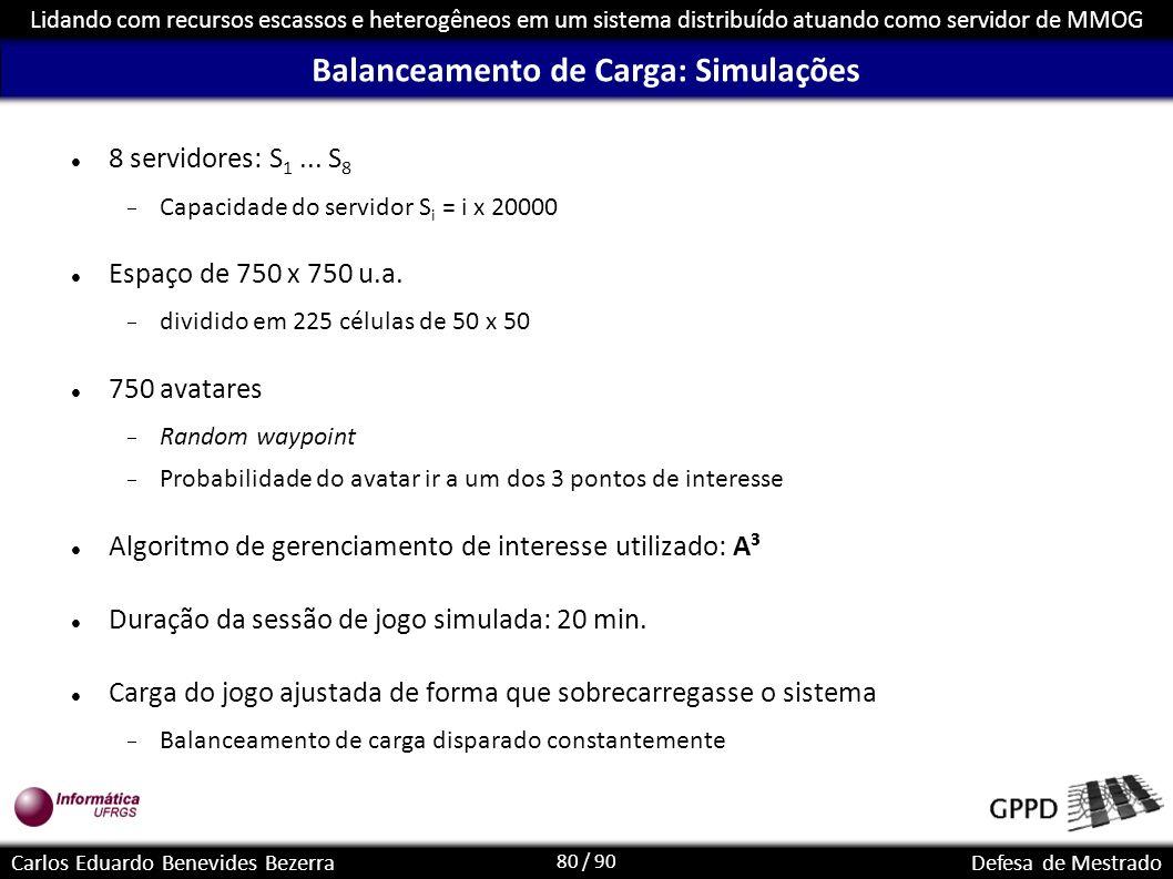 80 / 90 Lidando com recursos escassos e heterogêneos em um sistema distribuído atuando como servidor de MMOG Carlos Eduardo Benevides BezerraDefesa de