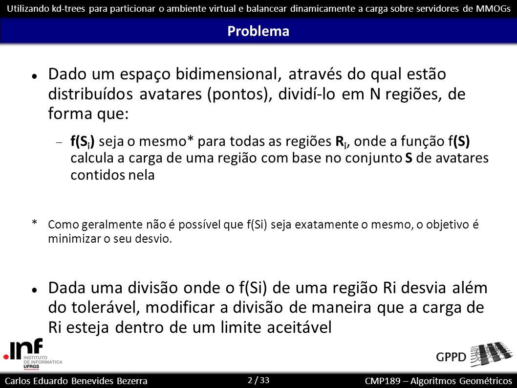 2 / 33 Carlos Eduardo Benevides BezerraCMP189 – Algoritmos Geométricos Utilizando kd-trees para particionar o ambiente virtual e balancear dinamicamen