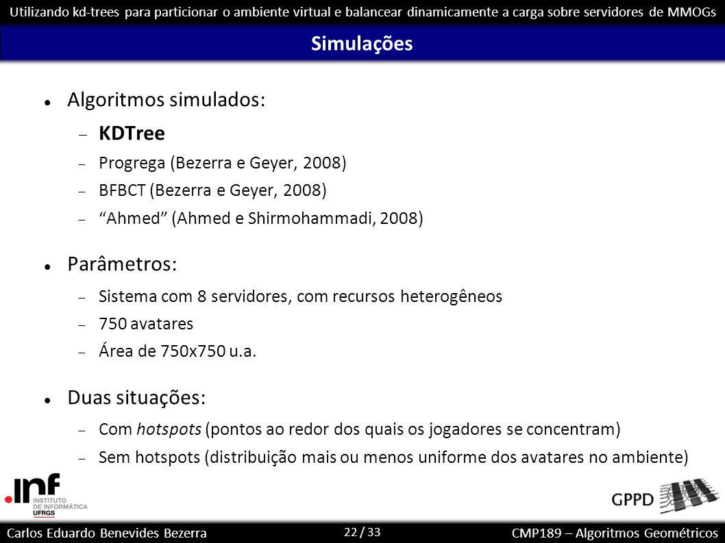 22 / 33 Carlos Eduardo Benevides BezerraCMP189 – Algoritmos Geométricos Utilizando kd-trees para particionar o ambiente virtual e balancear dinamicame
