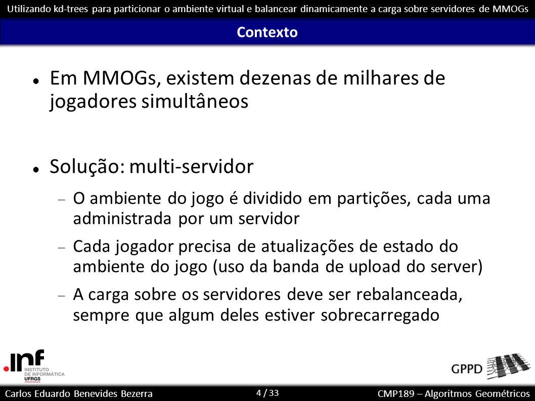 4 / 33 Carlos Eduardo Benevides BezerraCMP189 – Algoritmos Geométricos Utilizando kd-trees para particionar o ambiente virtual e balancear dinamicamen