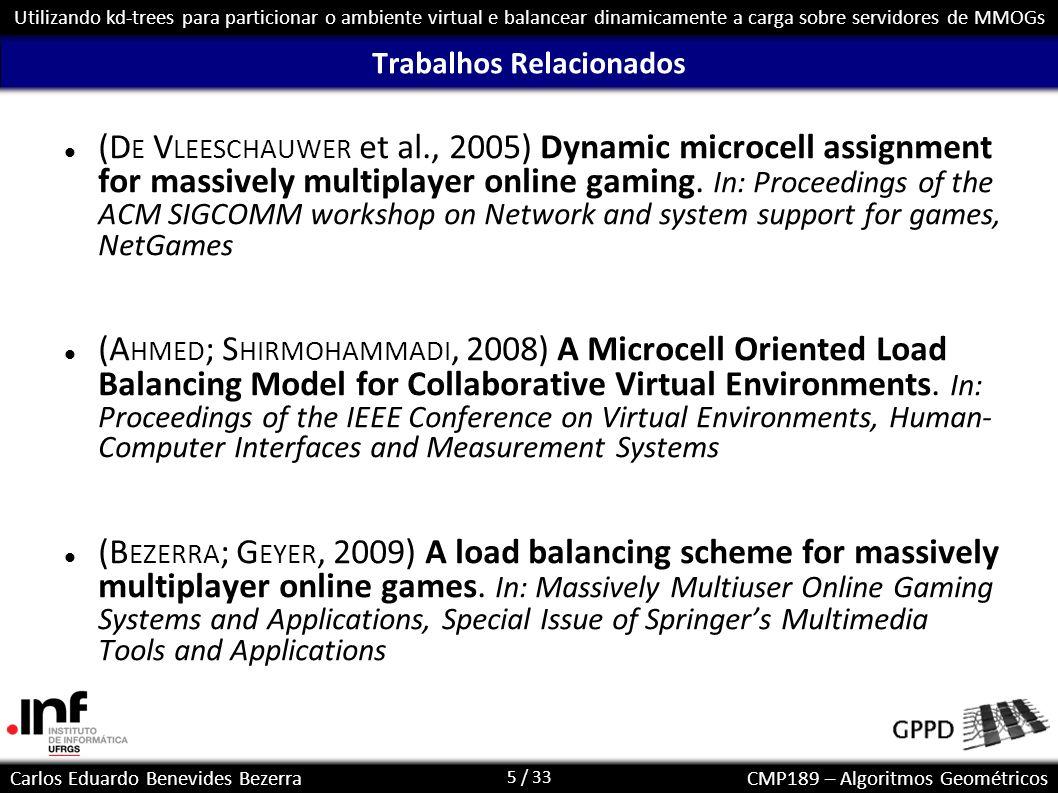5 / 33 Carlos Eduardo Benevides BezerraCMP189 – Algoritmos Geométricos Utilizando kd-trees para particionar o ambiente virtual e balancear dinamicamen