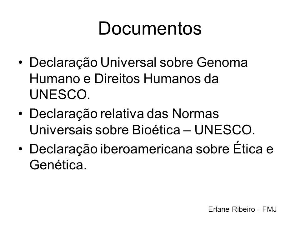 Documentos Declaração Universal sobre Genoma Humano e Direitos Humanos da UNESCO. Declaração relativa das Normas Universais sobre Bioética – UNESCO. D