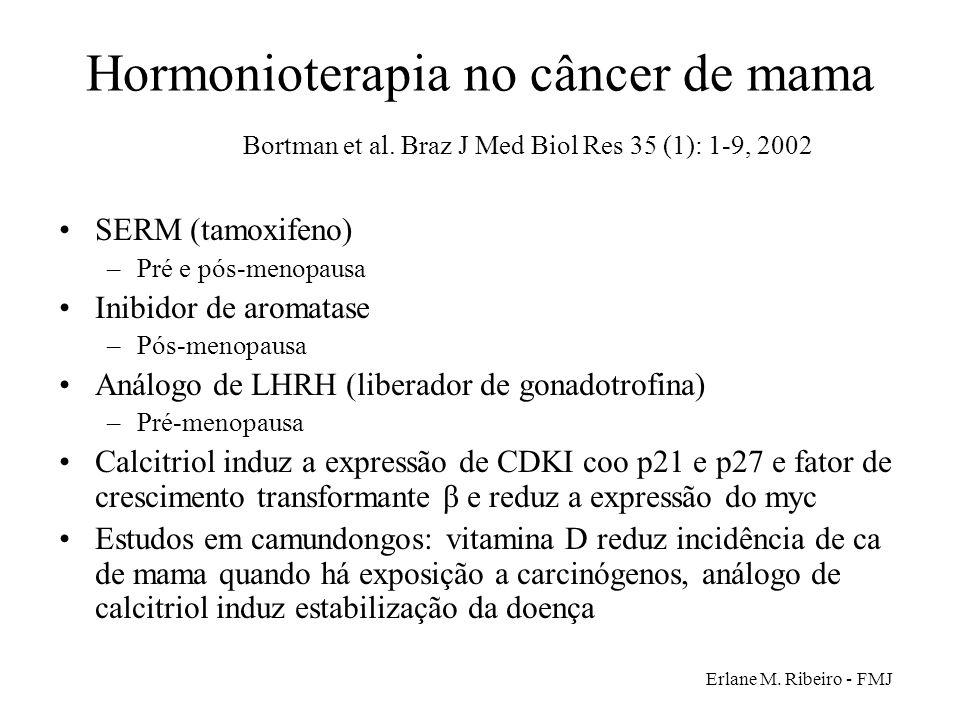 Erlane M. Ribeiro - FMJ Hormonioterapia no câncer de mama Bortman et al. Braz J Med Biol Res 35 (1): 1-9, 2002 SERM (tamoxifeno) –Pré e pós-menopausa