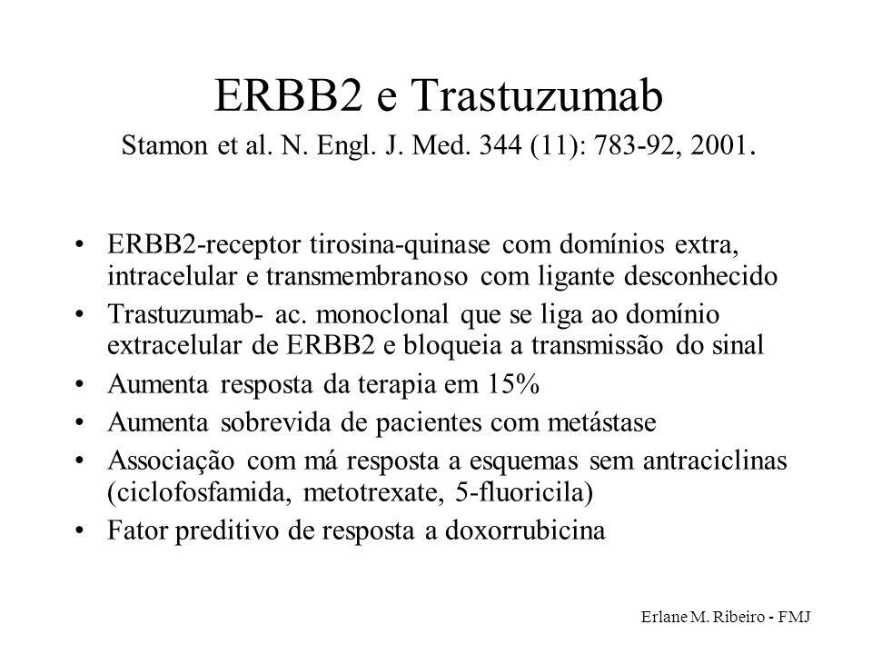 Erlane M. Ribeiro - FMJ ERBB2 e Trastuzumab Stamon et al. N. Engl. J. Med. 344 (11): 783-92, 2001. ERBB2-receptor tirosina-quinase com domínios extra,