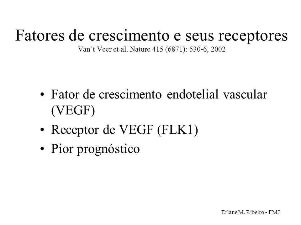 Erlane M. Ribeiro - FMJ Fatores de crescimento e seus receptores Van´t Veer et al. Nature 415 (6871): 530-6, 2002 Fator de crescimento endotelial vasc