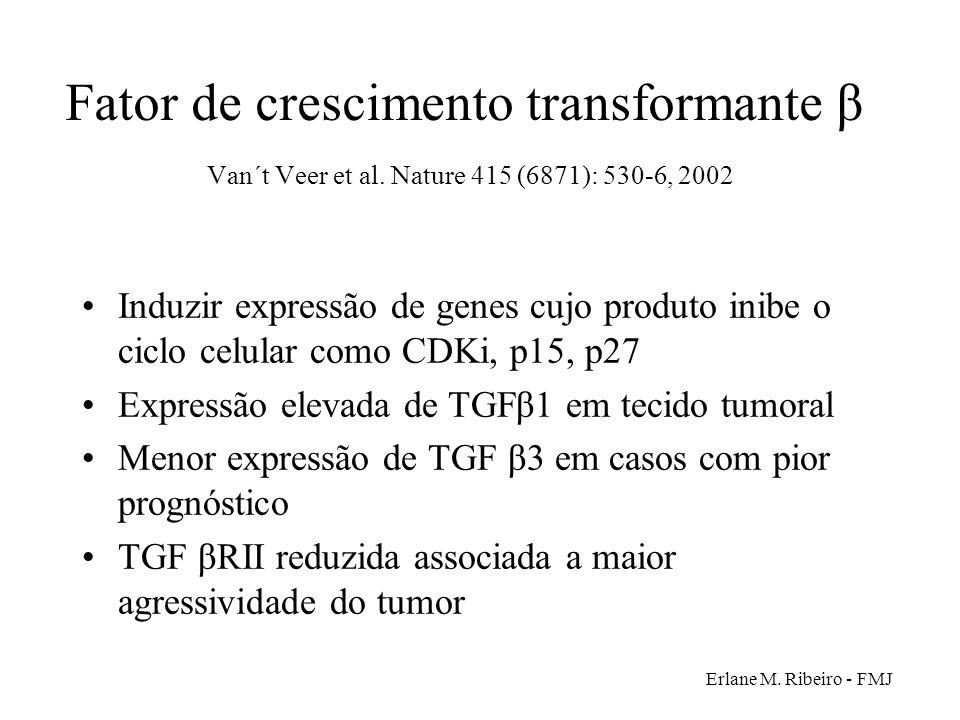 Erlane M. Ribeiro - FMJ Fator de crescimento transformante β Van´t Veer et al. Nature 415 (6871): 530-6, 2002 Induzir expressão de genes cujo produto