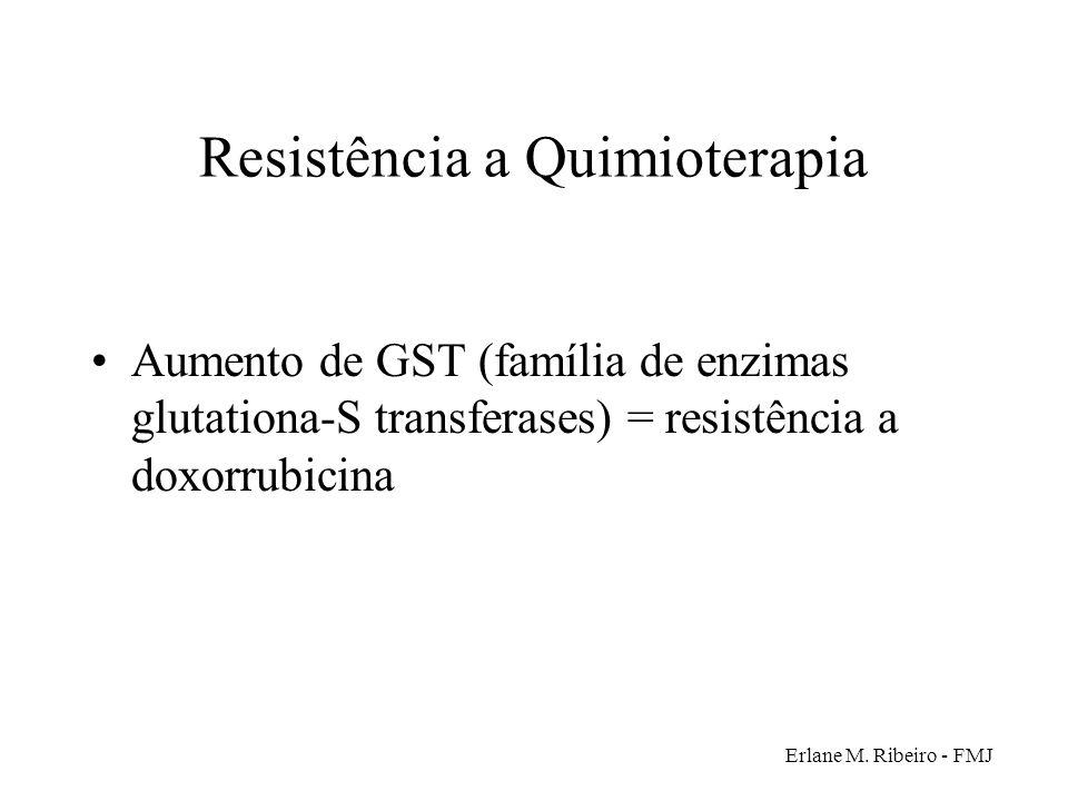 Erlane M. Ribeiro - FMJ Resistência a Quimioterapia Aumento de GST (família de enzimas glutationa-S transferases) = resistência a doxorrubicina
