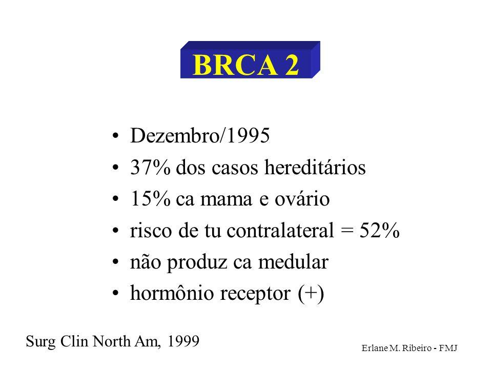 Erlane M. Ribeiro - FMJ BRCA 2 Dezembro/1995 37% dos casos hereditários 15% ca mama e ovário risco de tu contralateral = 52% não produz ca medular hor