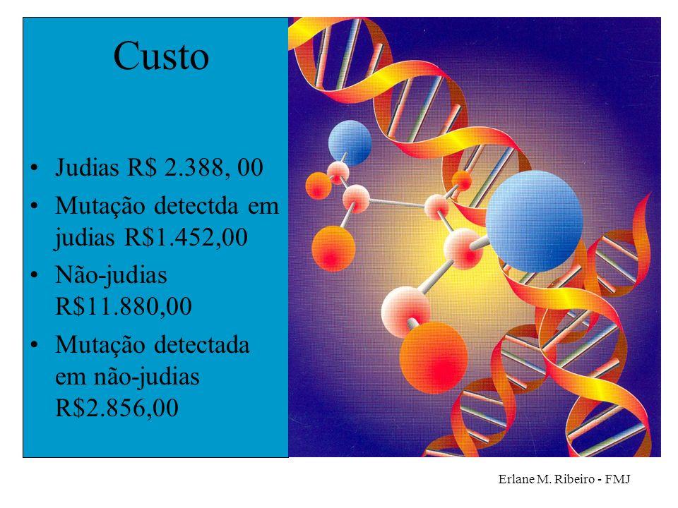 Erlane M. Ribeiro - FMJ Custo Judias R$ 2.388, 00 Mutação detectda em judias R$1.452,00 Não-judias R$11.880,00 Mutação detectada em não-judias R$2.856