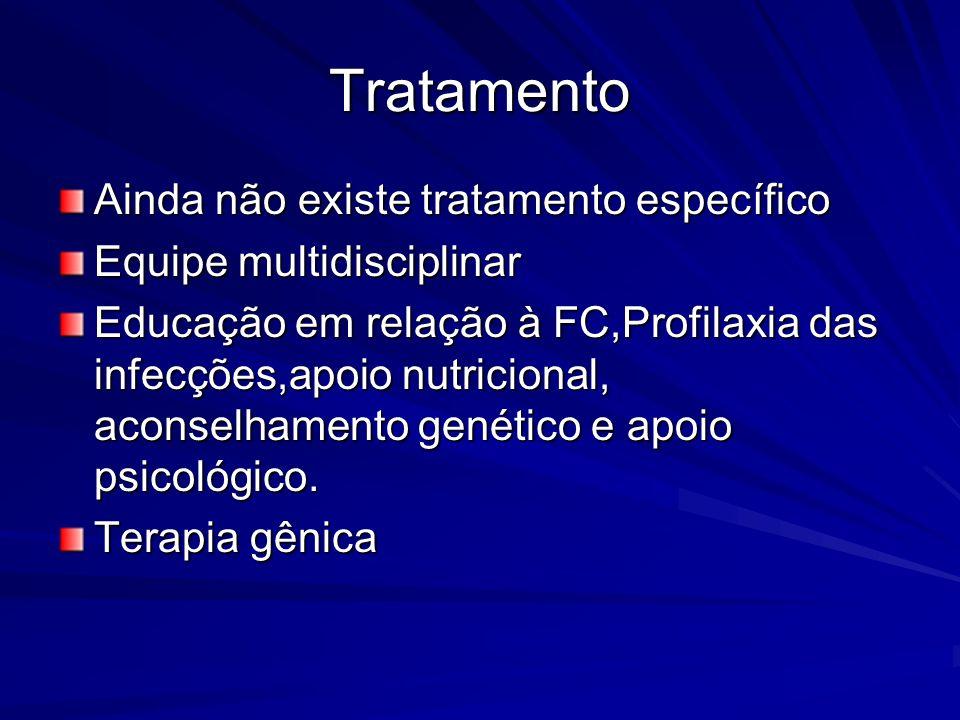Tratamento Ainda não existe tratamento específico Equipe multidisciplinar Educação em relação à FC,Profilaxia das infecções,apoio nutricional, aconsel