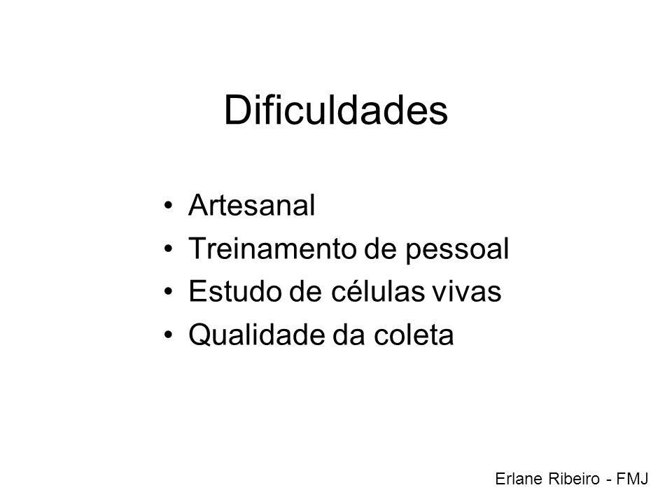 Dificuldades Artesanal Treinamento de pessoal Estudo de células vivas Qualidade da coleta Erlane Ribeiro - FMJ