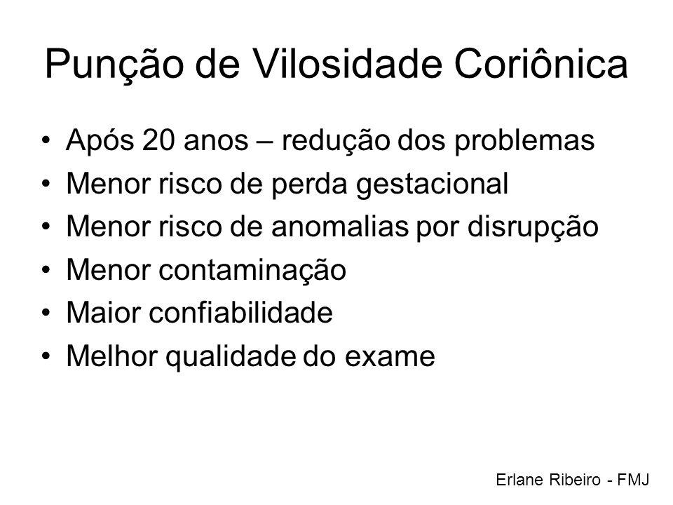 Punção de Vilosidade Coriônica Após 20 anos – redução dos problemas Menor risco de perda gestacional Menor risco de anomalias por disrupção Menor cont