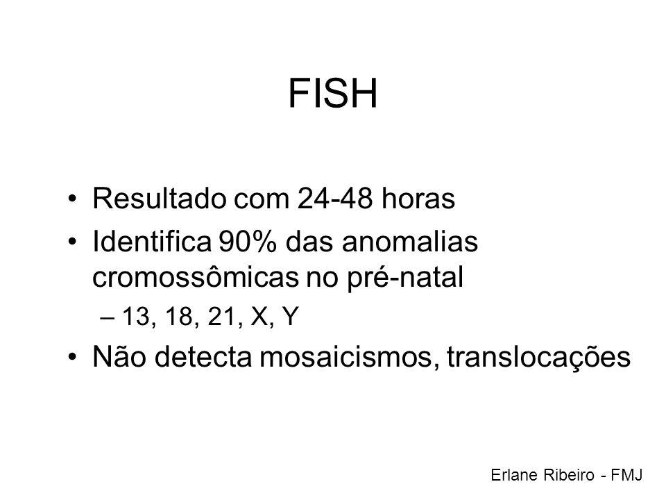 FISH Resultado com 24-48 horas Identifica 90% das anomalias cromossômicas no pré-natal –13, 18, 21, X, Y Não detecta mosaicismos, translocações Erlane