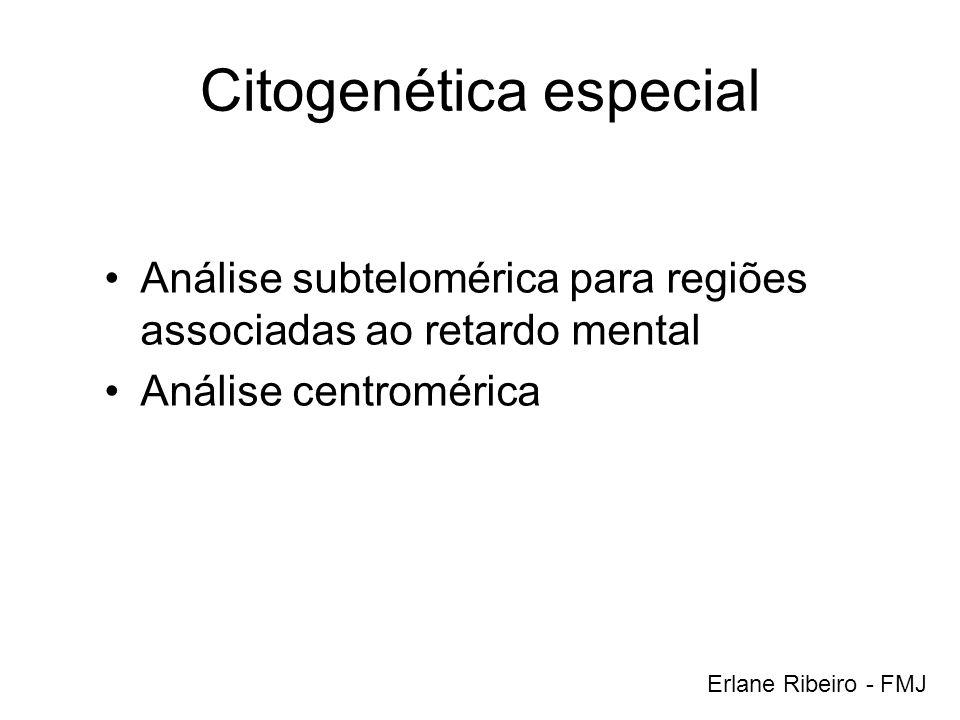 Citogenética especial Análise subtelomérica para regiões associadas ao retardo mental Análise centromérica Erlane Ribeiro - FMJ