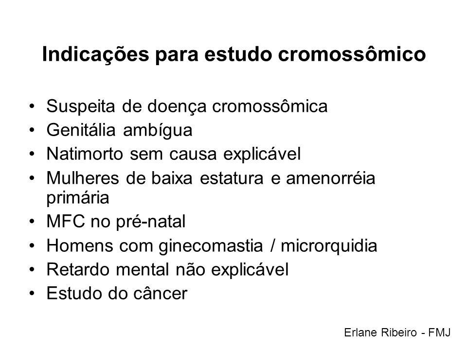 Indicações para estudo cromossômico Suspeita de doença cromossômica Genitália ambígua Natimorto sem causa explicável Mulheres de baixa estatura e amen