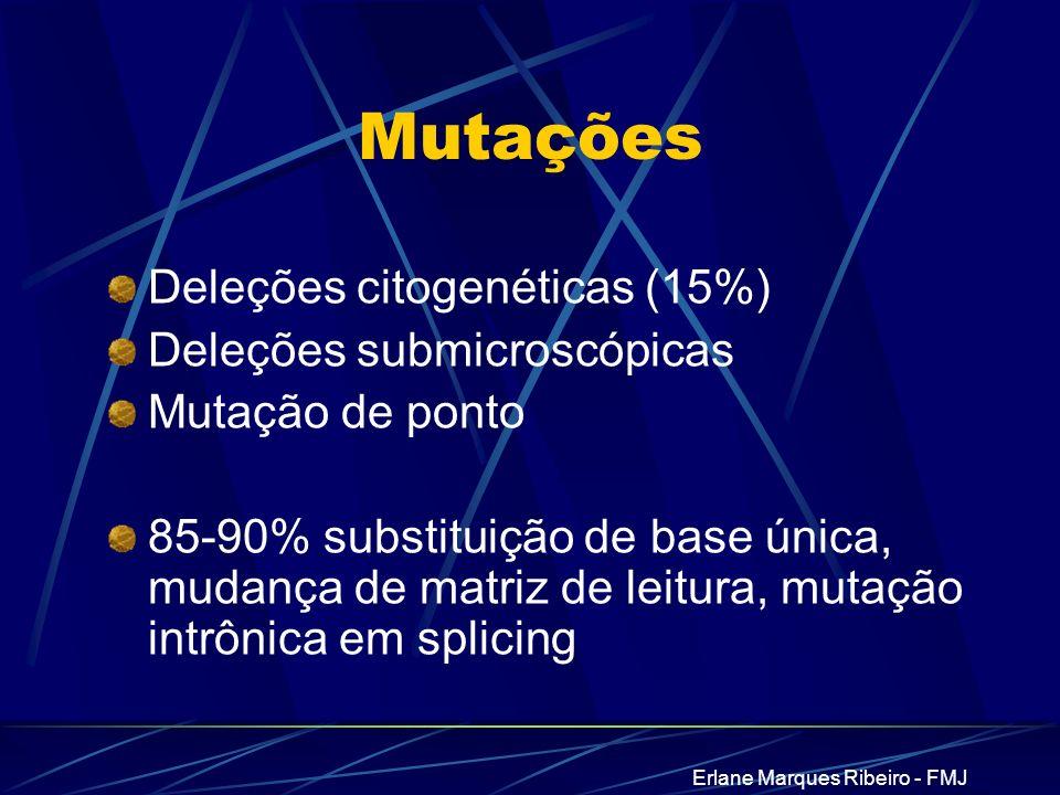 Erlane Marques Ribeiro - FMJ Mutações Deleções citogenéticas (15%) Deleções submicroscópicas Mutação de ponto 85-90% substituição de base única, mudan