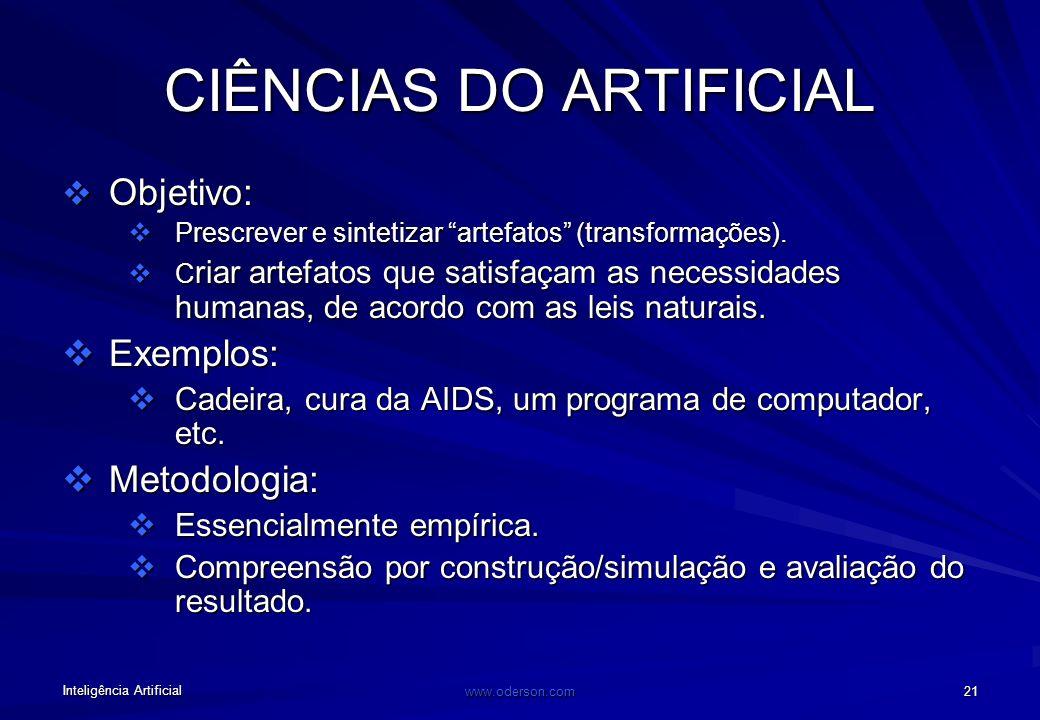 Inteligência Artificial www.oderson.com 20 Objetivo: analisar e descrever a natureza (observação) Exemplos: Química, Física, Botânica, etc. CIÊNCIAS N