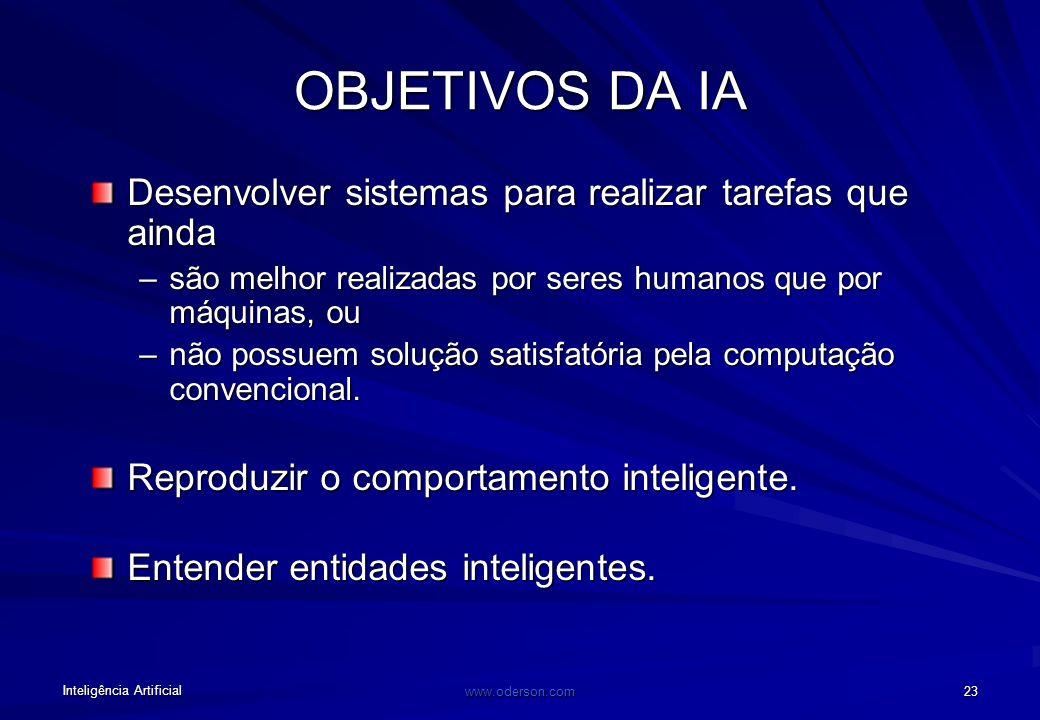 Inteligência Artificial www.oderson.com 22 Interação com outras disciplinas Matemática Sociologia Psicologia Filosofia Lingüística Computação IA Neuro