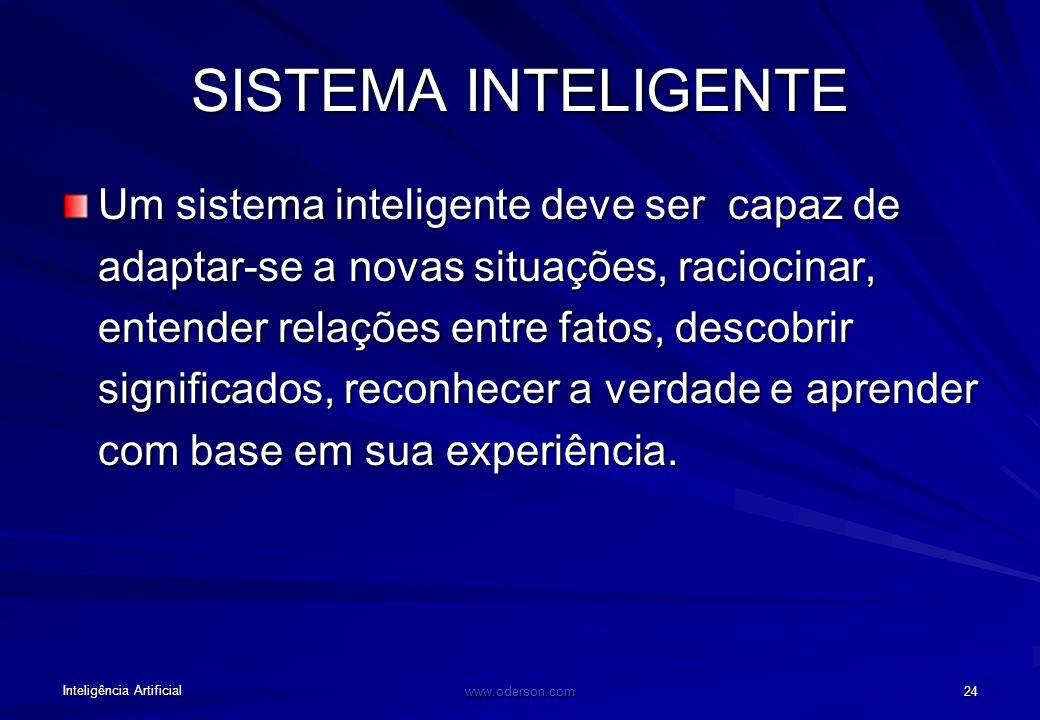 Inteligência Artificial www.oderson.com 23 OBJETIVOS DA IA Desenvolver sistemas para realizar tarefas que ainda –são melhor realizadas por seres human