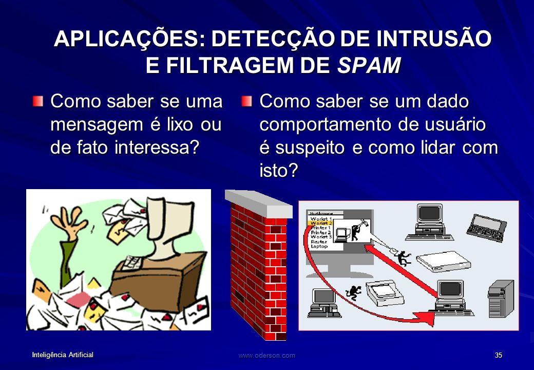 Inteligência Artificial www.oderson.com 34 APLICAÇÕES: BUSCA DE INFORMAÇÃO NA WEB Como localizar a informação relevante?