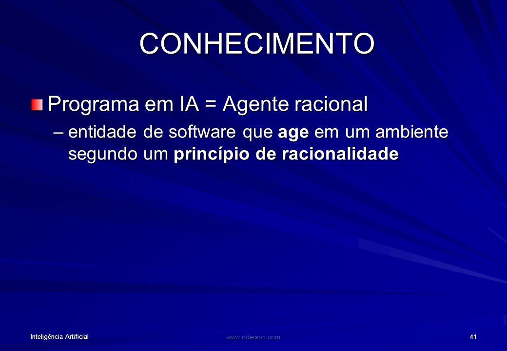 Inteligência Artificial www.oderson.com 40 PARADIGMA SIMBÓLICO Segundo a IA (simbólica), é preciso: –Identificar o conhecimento do domínio (modelo do